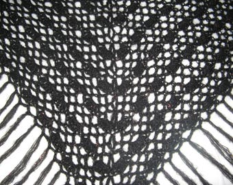 Black shawl crocheted with yarn mohair and lurex gold