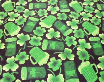 """St. Patrick's Day Fabric Green Beer 17"""" x  22"""""""