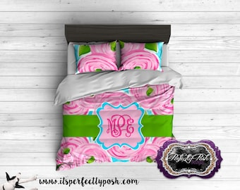 Rose Floral Bedding Custom Design and Personalized Comforter or Duvet with Monogram