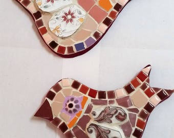 Twin ceramic handmade mosaic birds.  Wall art, Mixed media with plates china beads and ceramic tiles, home decor, original design.