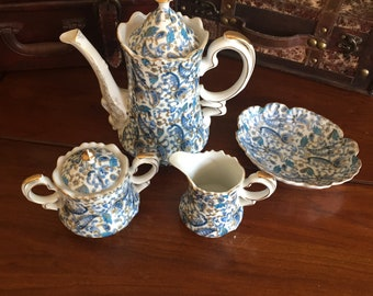 4 piece Lefton Blue Paisley Coffee pot, Creamer, Sugar bowl, and mint dish