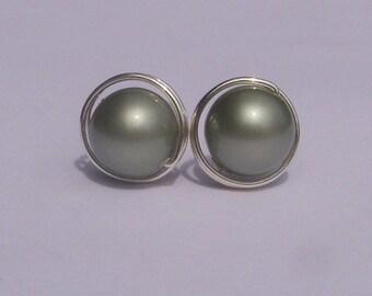 Large Powder Green Pearl Stud Earrings (10mm), Swarovski Pearl Stud Earrings, Wire Wrapped Sterling Silver Stud Earrings, Green Earrings
