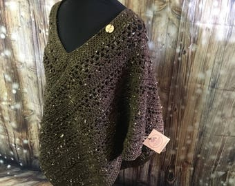 Adult Large Hand Crocheted Poncho
