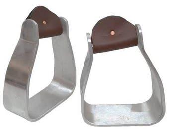 """5"""" Angled Aluminum Large Roping Saddle Stirrups"""