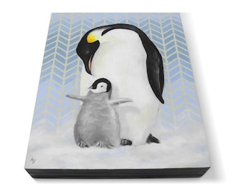 Penguin family painting - penguin chick and parent - realistic wildlife art - ice blue snow antarctic wildlife painting - happy feet penguin