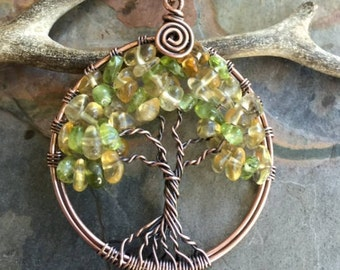November Birthstone Necklac in Antiqued Copper, Citrine Tree of Life Necklace, Citrine Tree Life Necklace,Wire Wrapped Citrine/Peridot Tree