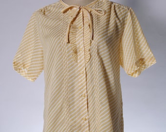 Vintage yellow stripe bow short sleeve blouse with ruffle