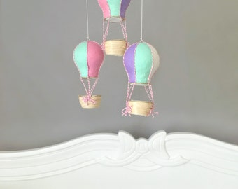 Baby Mobile, Hot Air Balloon Mobile, Crib Mobile, Nursery Mobile, Travel Theme Nursery, Nursery Decor, Gift Girl, Pastel Nursery