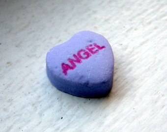 Art Photography - Nursery Art - Angel Purple Candy Heart Art Photograph, Valentines Art, 5x7