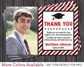 Graduation Thank You Card | Graduation Party Thank You Card | Red And Black