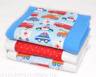 Baby Burp Cloths - Blue and Red First Responders Burp Cloth Set of 3 - Firetrucks, Police Cars, Ambulances - READY TO SHIP