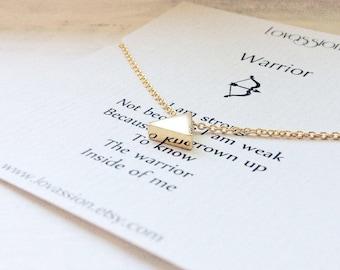 Tiny Gold Triangle Necklace, tiny triangle necklace, gold triangle necklace, geometric jewelry, inspirational, 14k