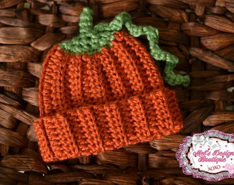 Pumpkin hat, newborn pumpkin hat, 0 3 baby pumpkin hat , newborn crochet beanie, halloween hat, fall hat, newborn hat ready to ship, crochet