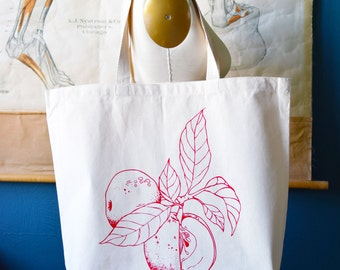 Recycled Cotton Canvas Tote Bag - Screen Printed Grocery Bag - Eco Friendly Shopper Tote - Large Tote - Farmers Market - Apple - Produce bag