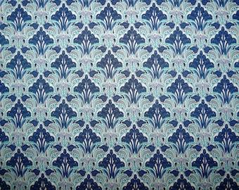 Fabric - Blue Art Nouveau print pima cotton lawn - dressmaking