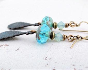 Turquoise Boho Earrings Waterfall Earrings Black Brass Drop Dangle Earrings Aqua Blue Crystal Earrings Bohemian Blue Dangles Brass Earrings