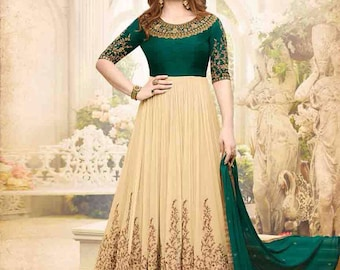 India Eethnic Bollywood Style Beige and Bottle Green partywear Anarkali Suit