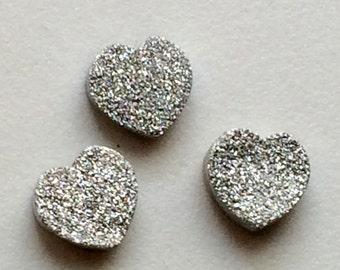 Silver Druzy, Titanium Silver Druzy, Matched Pairs, Silver Heart Druzy, Druzy Jewelry, Druzy Cabochon, Druzy Bead, 6 Pieces, 12mm