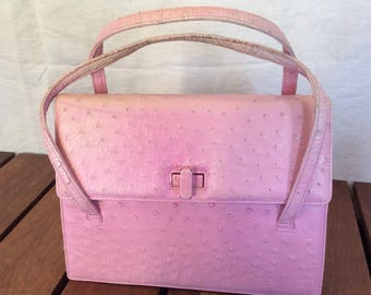 Lucille de Paris Authentic Exotic Pink Ostrich 80's Satchel Bag Made in USA