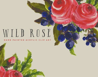 Clip Art Flowers, Hand Painted Commercial Use Graphics - Wild Rose