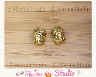 2 beads Buddha gold gilt very detailed 11x9x8mm