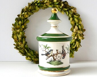 vintage Florentine porcelain ceramic lidded bird jar bird decor green bird jar