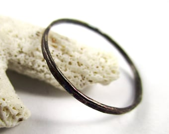 Patinaed Hammered Ring 18g Stackable Sterling Silver Minimalist Stackable Ring Patinaed Ring Stacking Ring Dainty Ring Hammered Ring