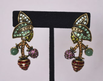"""Heidi Daus """"Berry Delicious"""" Swarovski Crystal Accented Fruit Design Clip On Earrings"""