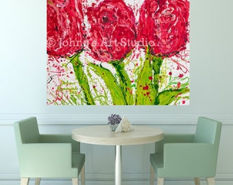 Tulips, Tulip wall art, Tulip print, Spring flowers, Pittsburgh artist, by Johno Prascak, Johnos Art Studio