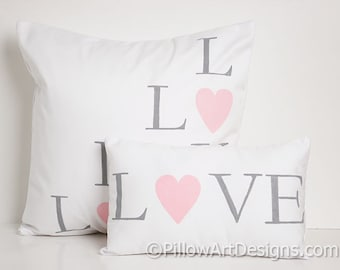 Love Pillows with Words Grey Pink Hearts White Cotton Handmade in Canada