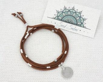 Wrap Bracelet Suede Mandala Boho Jewelry Necklace