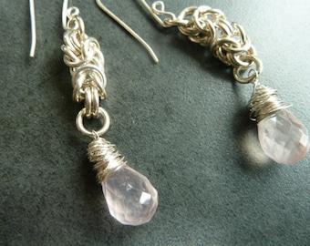 Rose Quartz Earring Drops, Byzantine Weave Sterling Silver
