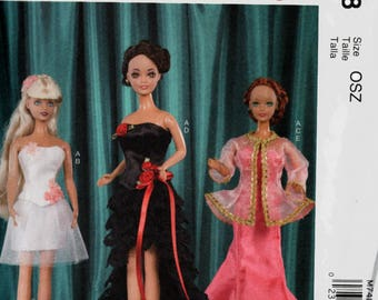Special Occasion Dresses Evening Gowns Sewing Pattern for 11 1/2 inch Doll McCalls Crafts 7488 Barbie Doll Wardrobe UNCUT