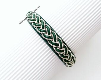 Green Scandinavian Sami Swedish Lapland bracelet . Nordic Viking jewelry for women