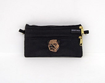 Fawn Pug Dog  2 Compartment Pouch