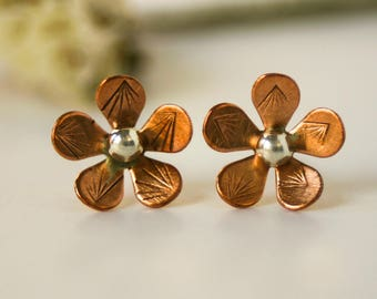 Copper Flower Petal Stud Earrings - Small Studs Nickel Free for Women and Girls - Petite Botanical Posts