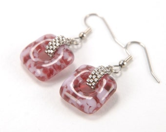 Cranberry and petal pink marble squares - beaded fused glass dangle earrings