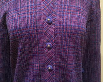Vintage Richard Stump Multicolour Check Jersey Dress Size M
