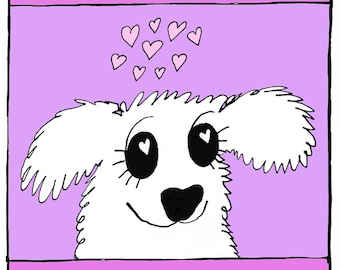 You make me puppy-eyed - greeting card, blank inside - furry white puppy with hearts in its eyes - kitschy cutesy cute