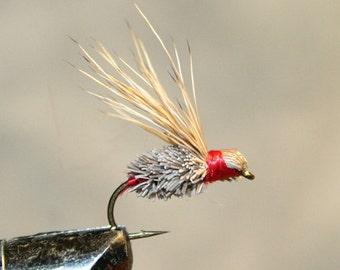 Moucheur - Made in Michigan Deer lié à la main - cheveux - voler les mouches de pêche - brun - gris - rouge - mouches de pêche classique - numéro 10 crochet