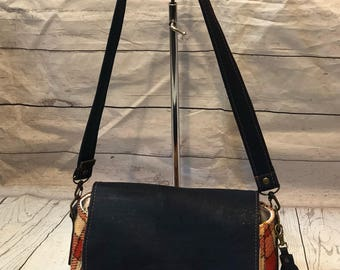 Harris tweed shoulder bag top handle bag Portuguese cork vegan friendly ready to ship