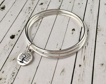 Sterling Silver Bangle Set, With Antique Silver Tree Of Life Charm, Bangle Bracelet, Silver Bangles, Charm Bracelet, Set Of 3 Bangles