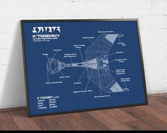 Star Trek Gift, Klingon Battle Fleet k'teremny Blueprint, Digital Download, Spacecraft Design Schematic, Science Fiction Movie Poster Print