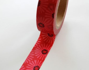 Washi Tape - 15mm - Pink Mumm Floral Design - Deco Paper Tape No. 370