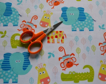 Blue Elephant Fabric By The Yard, Giraffe Print Fabric, Monkey Fabric, Kids Fabric, Sewing Material, Novelty Fabric, Quilt Fat Quarter