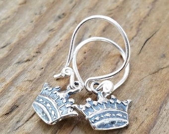 Sterling Silver Crown Earrings and Hill Tribe Silver, Artisan Crown Earrings, Crown Jewelry, Pierced Earrings, Mothers Day Gifts