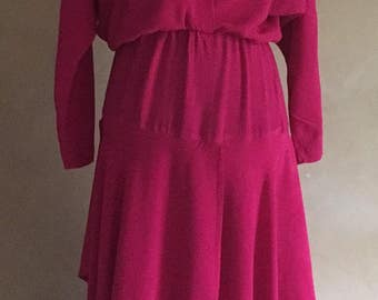 Vintage 80's Jazz ll - Pink Dress - Dolman Sleeves- tags still on! Made in California, USA