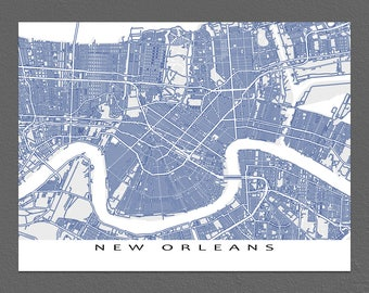 New Orleans Louisiana, New Orleans Map, New Orleans Print, Street Art Map