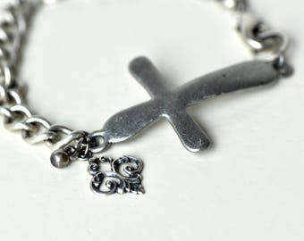 Silver Sideways Cross Bracelet- Cross Bracelet- Thick Chain Bracelet- Boho Bracelet- Boho Jewelry- Affordable Bracelet- Gift for Her