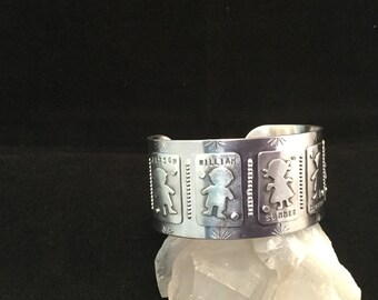 Grandmother or Mother Cuff in Sterling Silver